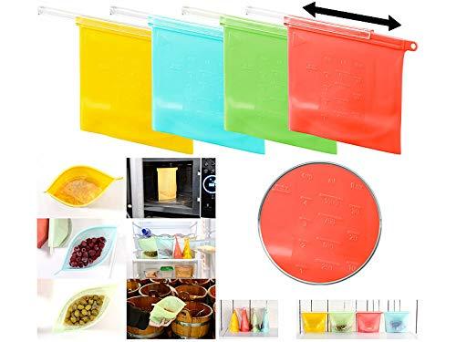 Rosenstein & Söhne Bolsa de silicona: Juego de 4 bolsas de silicona para alimentos, resellable 1000 ml (Bolsa de verduras)