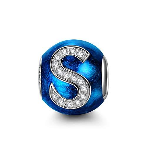 NINAQUEEN Pandora Charms angepasste Charm Geschenke für Frauen Buchstaben S Blau Silber 925 Zirkonia Emaille Schmuck Damen mit Schmuckkästchen Damen Geschenke für Mama✿