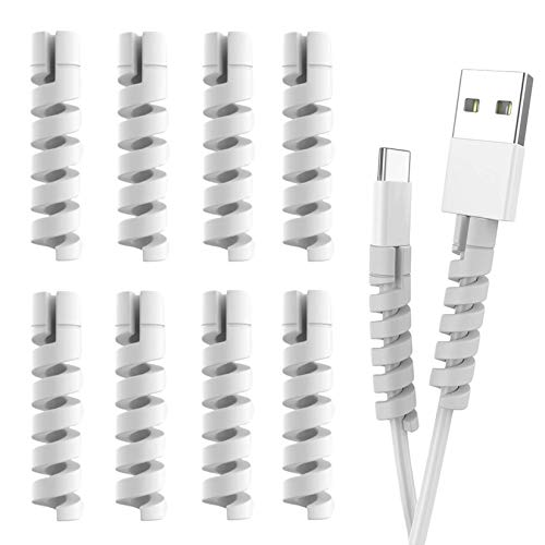 Cable Protector Spiral Phone Cable Saver Lightning Charge, Headphone, USB Cord, PC and Notebook Cable Protector, Fit for All Cell Phone - 8 PCS (Grey)