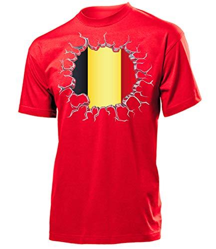 Belgien Belgium Belgique Fanshirt Fussball Fußball Trikot Look Jersey Herren Männer t Shirt Tshirt t-Shirt Fan Fanartikel Outfit Bekleidung Oberteil Hemd Artikel