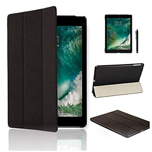 MOFRED Black New Ultra Slim Apple iPad 10.5-2019 Version Leather Case Cover, Full Protection Smart Cover for iPad 9.7' With Magnetic Auto Wake & Sleep Function + Screen Protector + Stylus Pen
