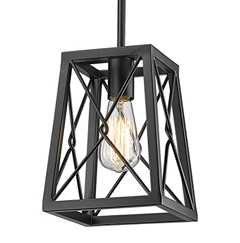 YEEHOME 7 Inches Farmhouse Pendant Light,1-Light Metal Wire Cage Hanging Lantern, Black Modern Pendant Light Fixture for Kitchen Island ,Dining Room, Restaurant