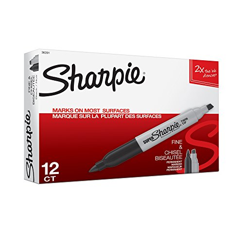 Sharpie Super Twin Tip Fine Point and Chisel Tip Permanent Markers, 12 Black Markers (36201)