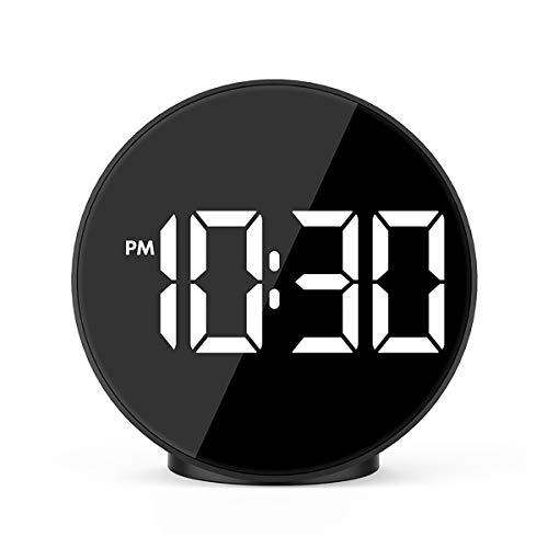 SWETIY Reloj Despertador Digital, Reloj Espejocon con Snooze, 12/24 Horas, Fecha Y Temperatura, Brillo Ajustable, Pantalla LED Espejo Grande, Reloj Cabecera con Modo Nocturno