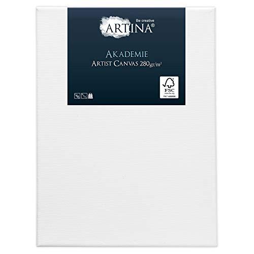 Artina Vorgrundierte Akademie Leinwand auf FSC® Keilrahmen 60x80cm 100% Baumwolle Leinwand zum Bemalen Trommelhart Bespannt & Formstabil Leindwand 280g/m²