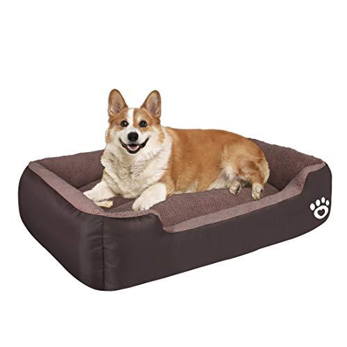 Cama para perros pequeños y medianos, cama lavable para mascotas, sofá suave de forro polar coral, cálida canasta para perros, gatos, cama lo suficientemente gruesa con tela Oxford impermeable