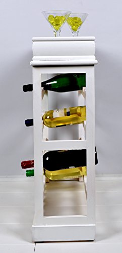 Weinregal Weiß für 24 Flaschen Flaschenregal weißes Holz - 3