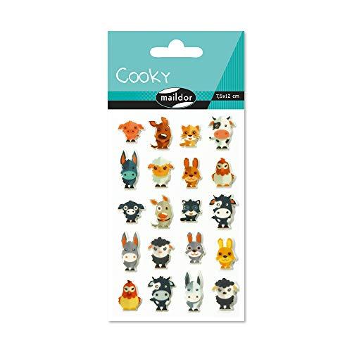 Maildor CY022O Packung mit Stickers Cooky 3D (1 Bogen, 7,5 x 12 cm, ideal zum Dekorieren, Sammeln oder Verschenken, Tiere auf dem Bauernhof) 1 Pack