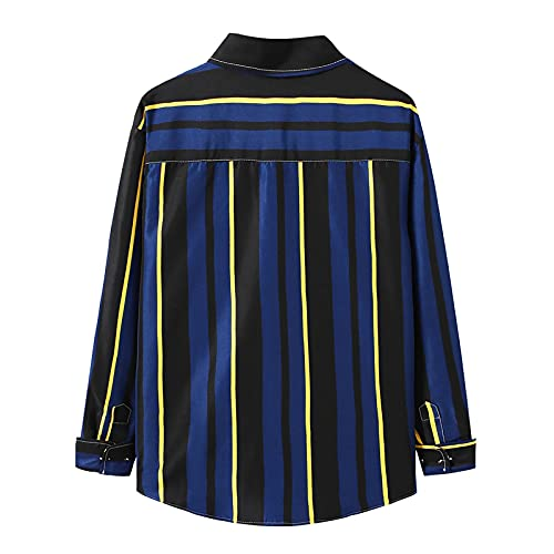 D-Rings Camisa de manga larga para hombre, ligera, para ocio, negocios., azul, L