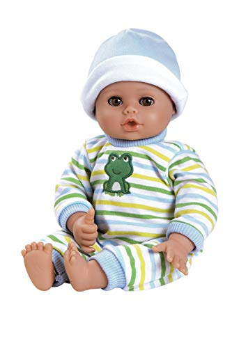 Adora Playtime 'Little Prince' 13 inch Baby Boy Doll with embroidered frog sleeper, hat and bottle