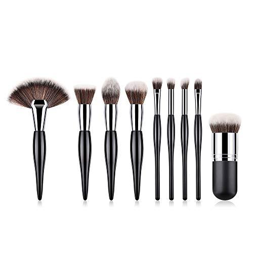 WFBD-CN Pinceau de Maquillage 9 Pcs Combinaison Noire Cheveux Bruns cosmétiques Pinceau de Maquillage Brosses de Teint en Poudre Fard à paupières Pinceau Jeu de Pinceau de Maquillage