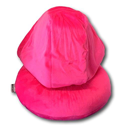 EKNA Cuscino per il collo, con cappuccio   Cuscino da viaggio   con cappuccio in tessuto grigio, nero, rosa, in schiuma memory + maschera per dormire + tappi per le orecchie Pink