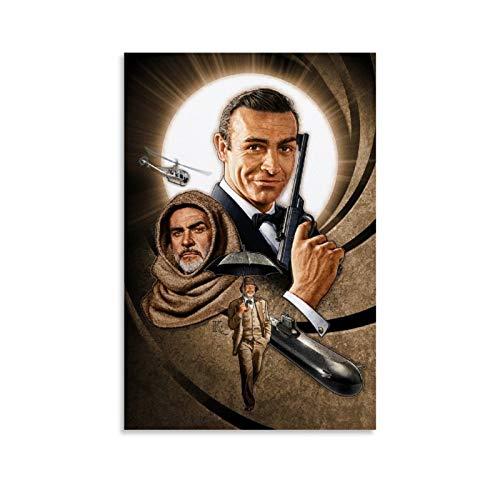 NQSB Film Stars Sean Connery 007 James Bond 24 - Stampa artistica su tela e stampa artistica da parete, 40 x 60 cm