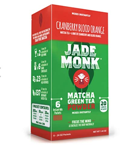 Matcha Green Tea Powder- Enjoy Anytime, Anywhere - All Natural energy - Ceremonial Grade - Mixes Instantly - Cranberry Blood Orange, 6 Pack