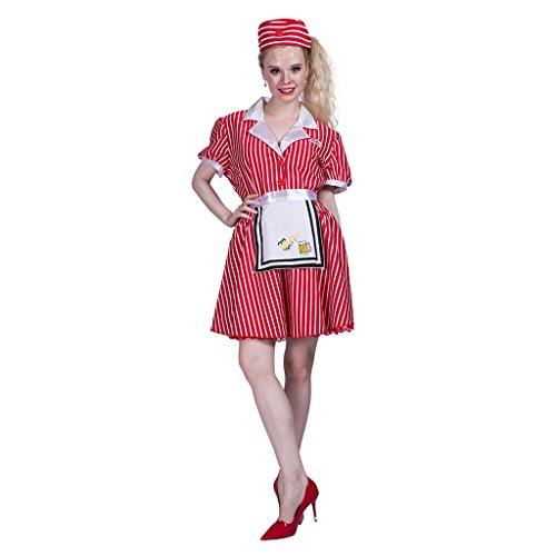 EraSpooky Disfraz de Camarera roja Halloween de 50 aos