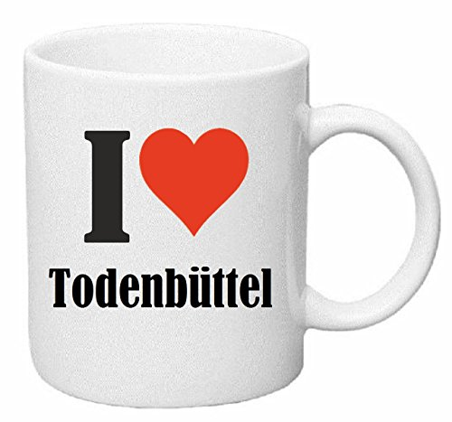 Reifen-Markt Kaffeetasse I Love Todenbüttel Keramik Höhe 9,5cm ? 8cm in Weiß