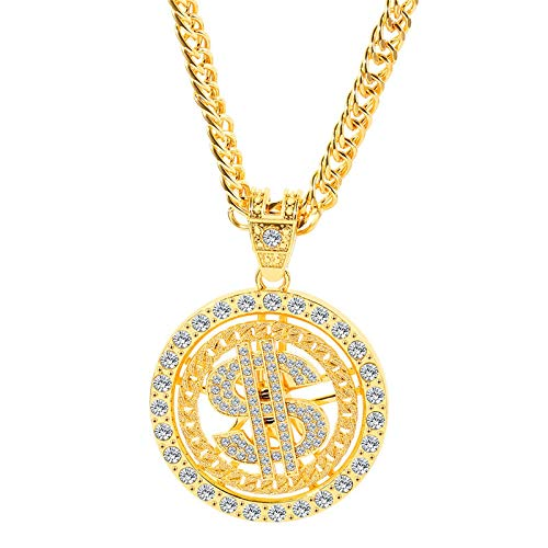 N/G Collar para Hombre Hip Hop Oro Plata Colgante de dólar Giratorio Collar Largo Diamante de imitación Joyas para Hombre con Disco Giratorio Collar Accesorios