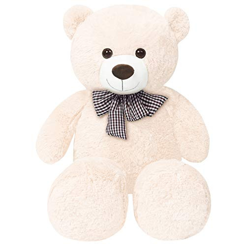 FSN Teddy Bear Plush Toy 47 in/120cm Cuddly Stuffed Animals Teddy Bear Doll Kids Gift for Valentines Girlfriend, White