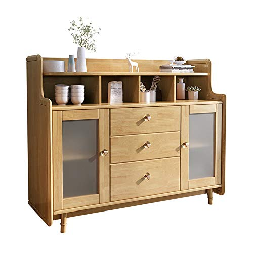 Aparador De Muebles Gabinete de almacenamiento del servidor de buffet de madera maciza Restaurante de cocina Barra de almacenamiento de gabinete lateral Pies de madera maciza Mucho Espacio De Almacena