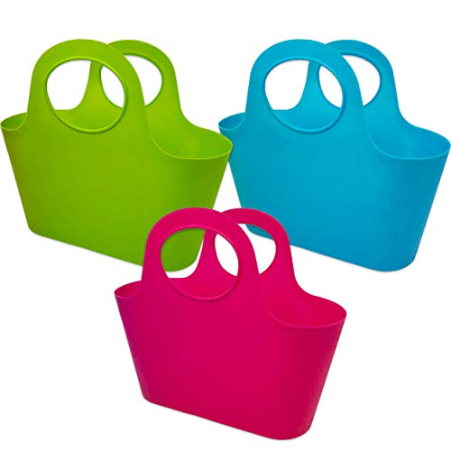 Set of 3 Large Plastic Baskets with Handles ~ Basket Plastic Large Assorted Pack for Arts & Crafts and Classrooms (Plastic Bucket Bulk)