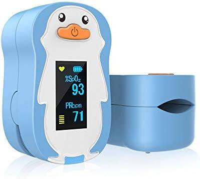 ViATOM Oxímetro de Dedo, Oxímetro de Pulso, Pulsioximetro de Dedo OLED Pantalla Con Alarma de Bajo Nivel Saturación de Oxigeno en Sangre y de Alta Frecuencia Cardiaca para Niños desde 2~12 Años