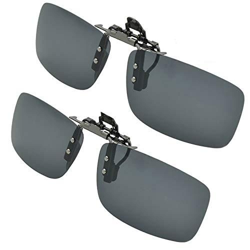 SPLAKS Sonnenbrille Aufsatz 2-Stück Clip on Polarisiert Clip polarisierte Sonnenbrille Flip up Sonnenbrille Clip Gegen Licht für Unisex Frauen und Männer Brillenträger(2er Schwarz)