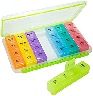 GMS 7-Day, 4-Times-a-Day BPA-Free, Waterproof Vitamin, Pill, Supplement Organizer and Tray with Daily, Removable, Multi-Colored Tablet Boxes for Children, Teens, Women, Men, Adults, Seniors, and Pets