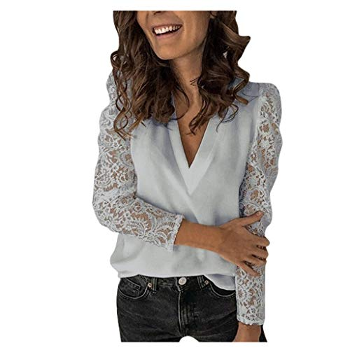 beetleNew Women's Blouse Sexy V-Neck Lace Long Sleeve Tops Casual Plain Chiffon Shirt Fashion Patchwork Hollow Out Pullover for Ladies Teen Girls Sheer See-Through Sleeves Top T-Shirt (Grey, XL)