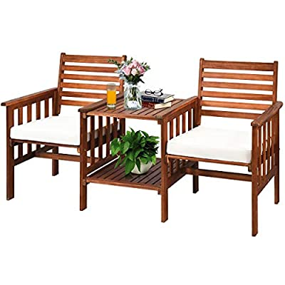 Tangkula Acacia Wood Loveseat, 3pcs Outdoor Table Chairs Set, Patio Conversation Set w/Coffee Table and Soft Cushions, 2.1-inch Umbrella Hole, 2-Seater Furniture Set (White)