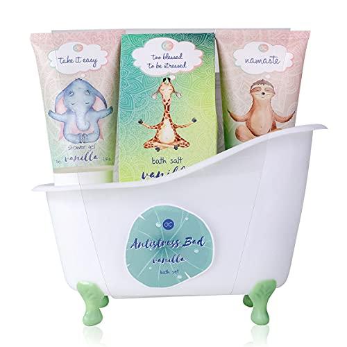 accentra accentra Bade- Und Duschset Anti-Stress Bad, 5-Teiliges Beauty Geschenkset In schöner Deko-Badewanne, 402 g
