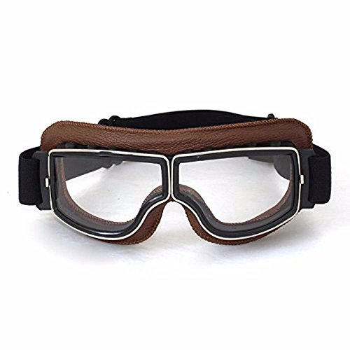 League & Co Brille für Motocross / Piloten, Retro-Optik, PU-Leder und PC-Linse, UV-Schutz (transparente Linse, brauner Rahmen)