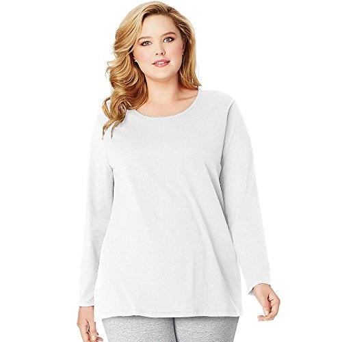 Just My Size Women's Plus Size Long Sleeve Tee, White, 3X