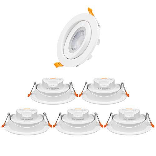 12W LED Groß Spots Strahler Decke Lampen Einbaustrahler Einbauleuchten Weiß Schwenkbar Lichtfarbe Einstellbar 230V Ohne Trafo Lochmaß 120-130MM 6er Pack von Enuotek