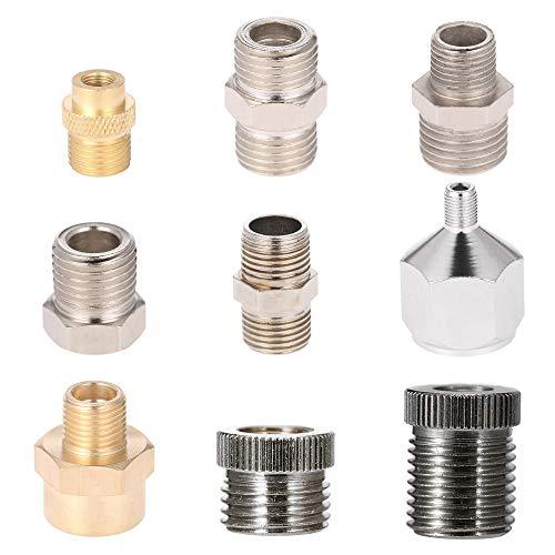 KKmoon 9 Stücke Airbrush Adapter Kit Fitting Anschluss Set für Kompressor und Airbrush Schlauch Airbrush Zubehör Werkzeug