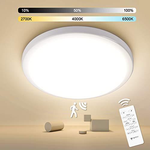 LED Deckenleuchte mit Bewegungsmelder, Oraymin 18W 1800LM Deckenlampe Dimmbar mit Fernbedienung 2700K-6500K, IP54 Wasserfest Badezimmerleuchten, Sensor Lampe für Balkon, Garage, Flur, Treppen