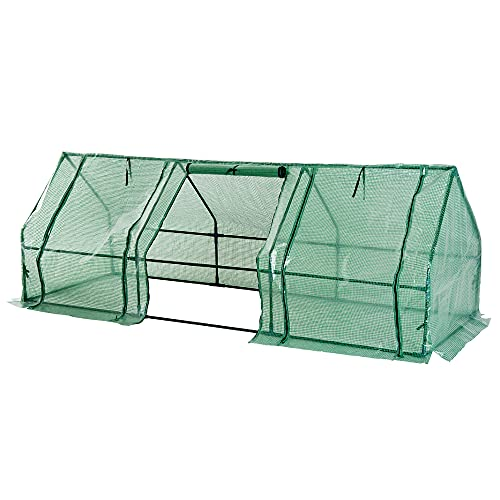 Outsunny 270 x 90 x 90 cm Steel Frame Poly Tunnel Steeple Greenhouse - Green