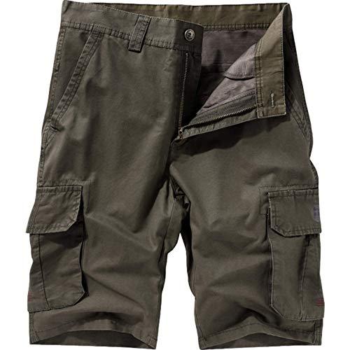 Hombre Verano Color Liso Monos Pantalones Casuales Perneras Rectas Al Aire Libre Multibolsillos Pantalones Cortos cómodos Resistentes al Desgaste 36