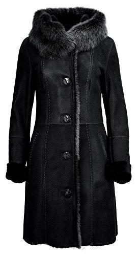 DX-Exclusive wear Damen LAmmfellmantel, Schaffellmantel, Ledermantel Toscana Fell KPKD-0021 (34, schwarz)
