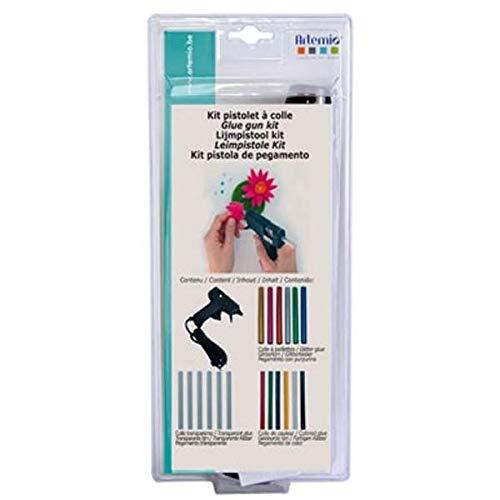 Artemio 18004005 Kit Mini Pistolet à Colle 18 Recharges, Plastique, Multicolore, 12,5 x 4 x 28,5 cm
