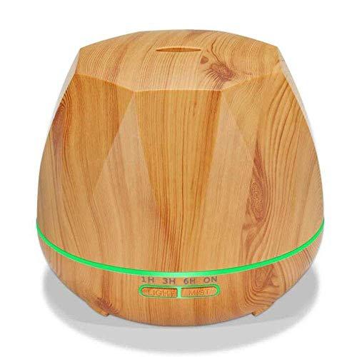 Humidificador Diamond Wood Grain Máquina de aromaterapia para el hogar, oficina, enchufable, humidificador, lámpara de respiración colorida, decoración de escritorio (color: amarillo)