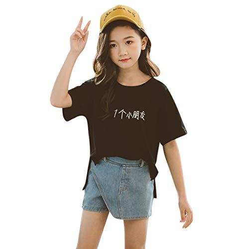 0-10 años de edad, conjunto de trajes de chica china, camiseta de manga corta, camisetas de mezclilla, conjunto de ropa para bebé, negro, 9-11 Años viejo