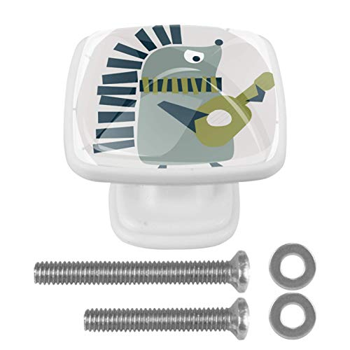 [4 piezas] Tiradores de cajón de cristal transparente con tornillos para cocina, aparador, armario, baño, armario, divertido animal erizo tocar guitarra