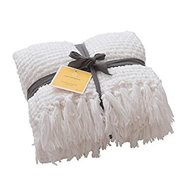 MELODY HOUSE Super Soft Woven Plaid Pattern Throw, Decorative Throw Blanket with Tassels, 50x60, Antique White