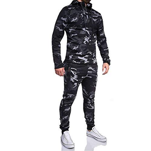 SANFASHION Survêtement Homme Sport, Sweat Chapeau Pantalons de Survêtement de Costume Tops Pants Ensemble Automne Hiver Chaud Hoodie Packwork
