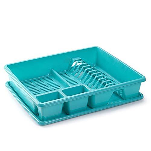 Acan Plastic Forte - Escurreplatos de Plástico 48 x 38 x 9, Organizador de Cocina, Escurridor con Bandeja para Cocina…… (Turquesa)