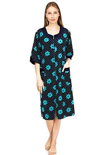 Womens VELOUR Cotton, Zipper Front, Soft, Comfortable House Dress, Bathrobe, Sleepwear, Loungewear (L, Blue Flower)