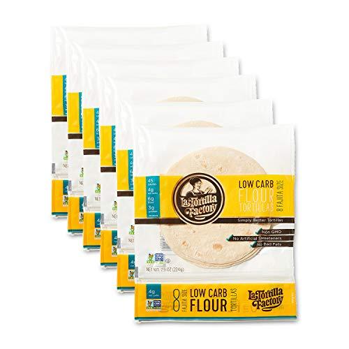 La Tortilla Factory Low Carb Flour Tortillas, Fajita Size, 8-Count, 6 Packages