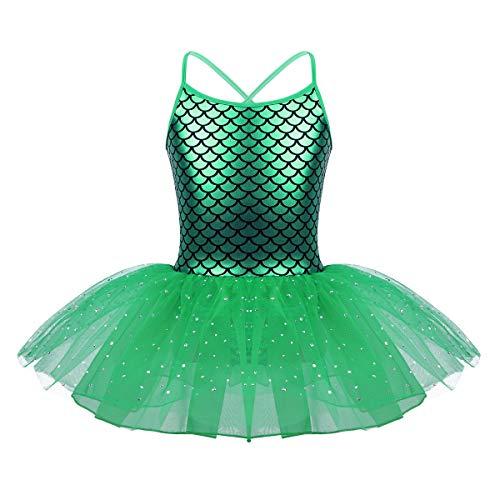 YiZYiF Vestido Ballet Tutú Niñas Maillot Danza Clásica Patinaje Artístico Vestido Pincesa Sirena Bebé Niñas Leotardo Body Ropa Actuación Fiesta Cumpleaños Verde A 3 Años