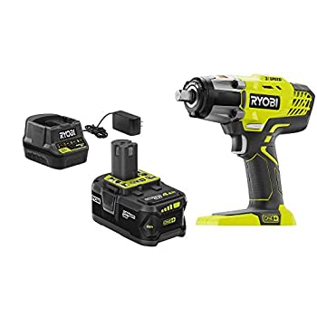 Ryobi P261K 18V Cordless 3-Speed 1/2 in Impact Wrench Kit with  1  4 Ah Battery Charger and Bag