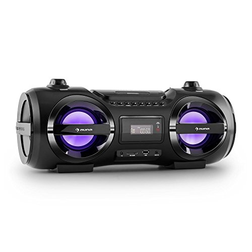 auna Soundblaster M tragbare CD Player Boombox Stereo Ghettoblaster UKW Radio (Bluetooth, MP3 USB- / SD-Port, AUX, LED, Akku, Fernbedienung) schwarz
